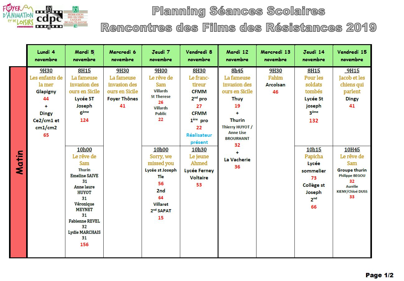 Planning scolaire